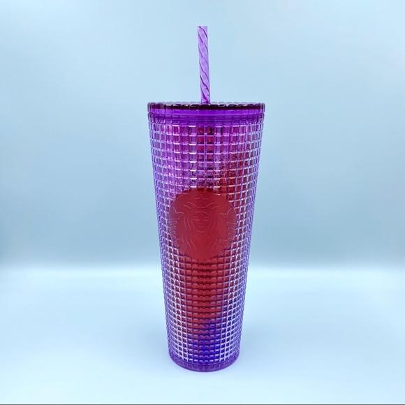 Starbucks Summer Purple Red Gradient Grid Tumbler